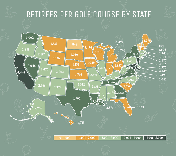 Map of retirees per golf course by state
