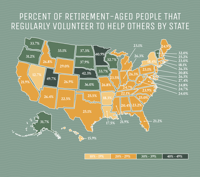 Map of retirement-aged people that volunteer by state